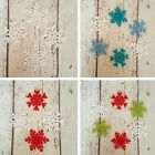 12 Lacy Snowflakes die cut in felt ~  Christmas embellishment Advent Cards