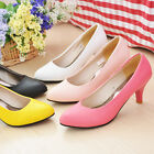 Fashion Women's Synthetic Leather Mid Heel Classic Pumps Shoes S026 US Sz4 -10.5