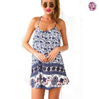 Womens Summer Foral Elephant Cocktail Party Evening Mini Braces Dress