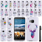 For HTC One M9 Cute Design PATTERN HARD Case Phone Cover + Pen