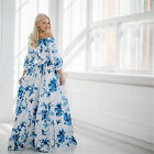 Womens Vintage Off-Shoulder Bohemia Boho Blue Floral Print Summer Maxi Dress
