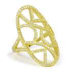 18K Yellow Gold Over Sterling Silver Cubic Zirconia Vintage Open Work Pave Ring