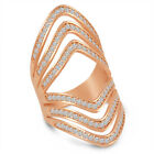 18K Rose Gold Over Sterling Silver Cubic Zirconia Large Open Ring