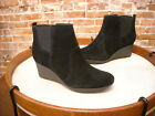 Clarks Black Suede Crystal Quartz Wedge Ankle Boot NEW