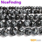 Black Snowflake Obsidian Round Jewelry Making Necklace Bracelet Beads 15""