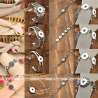 Silvery Metal Buckle Bangle Bracelet Fit Click Snap On Button Bead Charms Making