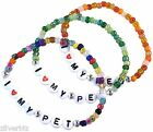I LOVE MY PET Glass Seed Bead Elastic BRACELET 9 Colours Letters Animal Cat Dog