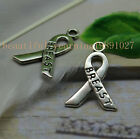 """20pcsExquisitely simple distort the shape of the letters """"breast cancer"""" pendant"""
