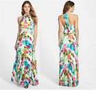 Womens Bohemia Chiffon Backless Summer Ladies Boho Maxi Dress Cocktail Rainbow