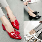 Womens NEW Low Heels Pumps Bowknot Pointed Toe Career Work Patent Leather Shoes