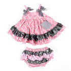 Baby Girls Two-piece Outfits Dress + Underpants Cover Diaper Set  Cotton Dresses