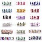 Wholesale 100pcs Crystal Rhinestone Silver Plated Rondelle Spacer Beads 6/8MM