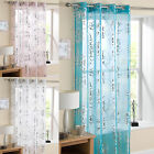 Silver Foil Printed Eyelet Voile Curtain Panel Mayfair Pink, White & Blue
