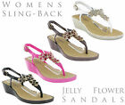 New Womens Savannah Small Wedge Jelly Buckle Toepost Casual Flower Trim Sandals