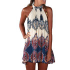 Summer Print Chiffon Beach Dress Womens Loose Sleeveless Casual Party Mini Dress