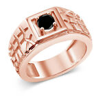 0.55 Ct Round Black AAA Diamond 18K Rose Gold Plated Silver Men's Solitaire Ring