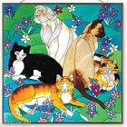 """TIFFANY CATS 19.5"""" STAINED GLASS CAT ART GLASS PANEL WINDOW PANEL"""