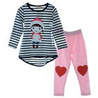 Toddler Girls Stripe Set Tops Shirt+Pants Leggings 2pcs 3-8Y Clothing Outfit