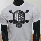4th of July Independence day USA Flag Skulls Rebel Mens White T-Shirt