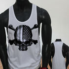 4th of July Independence day USA Flag Skulls Rebel Mens White Sports Tank Top
