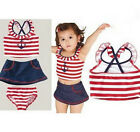 Girl Baby Sailor Swimwear Swimsuit Bathers Bikini Tankini 1-9Y Swimming Costume
