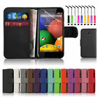 New Leather Flip Wallet Case Cover For MOTOROLA MOTO E Free Screen Protector