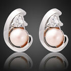 Fashion Jewelry Lady Pearl White Gold Plated Stud Earrings Jewellery Earings New