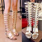 Gladiator Hollow Block Low Heel Womens Open Toe Zipped Sandals Knee High Boots