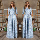 Womens Vintage Bohemia Blue White Floral Print Summer Boho Cocktail Maxi Dress