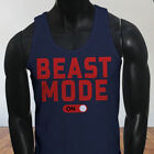 Workout Gym Muscle Lifting Beast Mode ON Mens Navy Tank Top