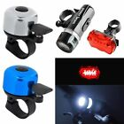 New High Quality Metal Ring Handlebar Bell+LED Front Head Light+Rear Flashlight