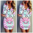 Sexy Fashion V Neck Summer Dress Womens Printed Tight Long Sleeve Casual Dress
