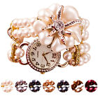 2015 Fashion Bracelet Watch Women Faux Pearl Rhinestone Analog Quartz Watch Gift