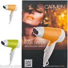 CARMEN COOPER GOLD LIME GREEN PORTABLE TRAVEL HAIR DRYER WITH FOLDING HANDLE