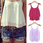New Ladies Chiffon Tank Top Sleeveless T-shirt Vest Summer Blouse Tee Tops