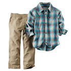 Carter's Boys 2 Piece Blue/Red Plaid Short Sleeve Button Down Shirt & Khaki Canv