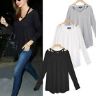 Sexy Ladies V Neck Off Shoulder Long Sleeve Loose T Shirt Blouse Tops Plus Size