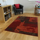 New Modern Red Orange Patchwork Rugs Small Large Cheap Cheapest Lounge Mats UK
