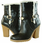 Michael Kors Lizzie Ankle Dark Toffee Shearling Zipper Pull On Heels Boots