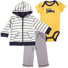 Hudson Baby Boys 3 Piece Yellow Car Embroidered Bodysuit, White/Grey Striped Zip