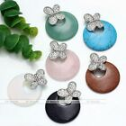 1x Gemstone Silver Crystal Butterfly Bead Charm Pendant Fit Necklace Jewelry DIY
