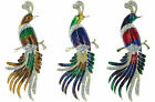 """Huge Peacock Bird Gold Finish  Pin Brooch with Swarovski Elements 5"""" Tall"""