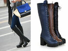 Women Ladies Punk Lace Up Zip Platform Chunky Heel Knee High Boots Plus Size