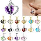New Women Heart Crystal Rhinestone Silver Gold Chain Pendant Necklace Jewelry