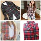 Trendy Women's Casual Lapel Shirt Plaid & Checks Flannel Shirts Tops Blouse - LD