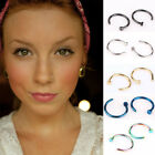 HF 2PCS Chic Stainless Steel Nose Open Hoop Ring Body Piercing Studs Jewelry