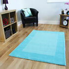 Modern Teal Blue Wool Area Rug New Plain Bordered Thick Soft Living Room Mats