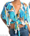 Blue Multi Dolman Sleeve Cropped Shrug/Cover-Up Top