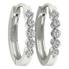 14K White Gold VS1/F Round Cut 0.50TCW Diamond Excellent Hoops Huggie Earrings