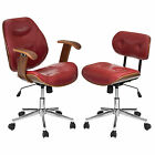 Red Leather And Bentwood Executive Swivel Office PC Computer Desk Chair Seat